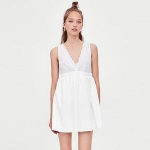 Zara Trafaluc White Eyelet Lace V-Neck Mini Dress